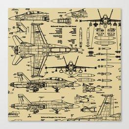 F-18 Blueprints // Tan Canvas Print