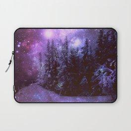 Galaxy Winter Forest Purple Laptop Sleeve