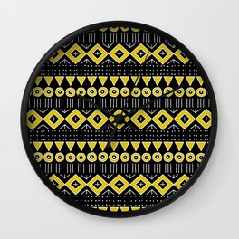 Mudcloth Style 2 in Black and Yellow Wall Clock