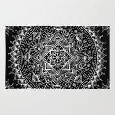 White Flower Mandala on Black Rug