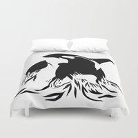 orca Duvet Covers featuring Orca by Bekka Kate Art