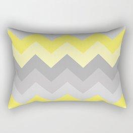 Yellow Grey Gray Ombre Chevron Rectangular Pillow