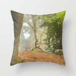 Squirrel Standing on Stump Throw Pillow