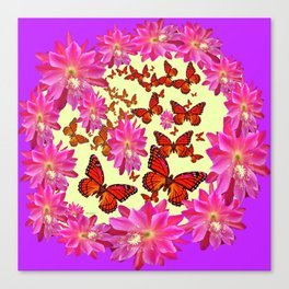Violet Purple Pink Floral Butterfly Wreath Canvas Print