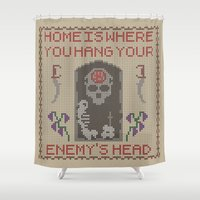 skyrim Shower Curtains featuring Home Is Where You Hang Your Enemy's Head by Strong Jaw Designs