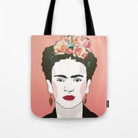 frida Tote Bags featuring Frida by Amanda Corbett