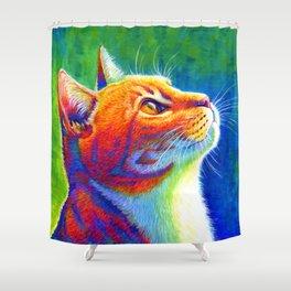 Rainbow Cat Portrait Shower Curtain