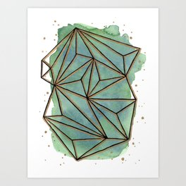 Abstract Geometric with Watercolor Background Art Print