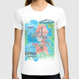 Seattle Washington Travel Poster Favorite Map T-shirt