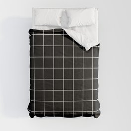 Grid Pattern Line Stripe Black and White Minimalist Geometric Stripes Lines Comforters