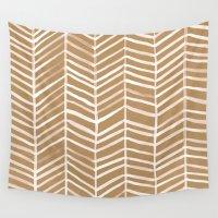 herringbone Wall Tapestries featuring Kraft Herringbone by Cat Coquillette