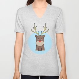 Cute Kawaii Christmas Reindeer Unisex V-Neck