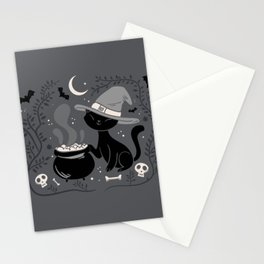 Cat Witch - Mid Century Vintage Grey Stationery Cards