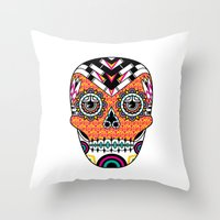 deco Throw Pillows featuring Deco Skull by Jorge Garza