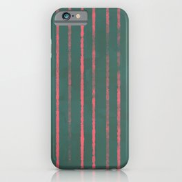 Modern Hand-painted Stripes in Bright Coral and Petroleum Green colors, Abstract Painting iPhone Case