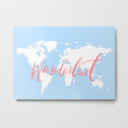 Blue World Map Metal Print