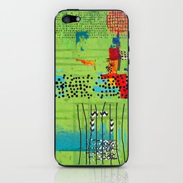 Red and Green Abstract Art Collage iPhone Skin