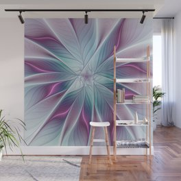 Floral and Luminous, abstract Fractal Art Wall Mural