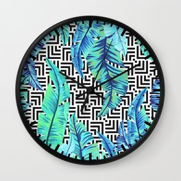 turquoise tropical leaves Wall Clock