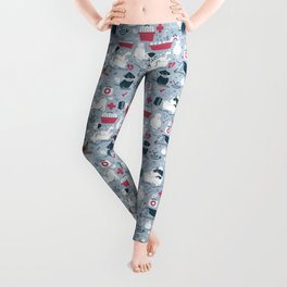 Veterinary medicine, happy and healthy friends // pastel blue background Leggings