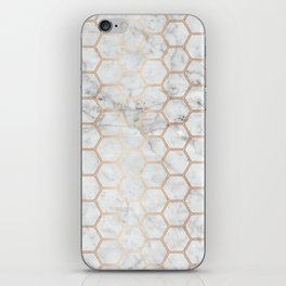 Honeycomb Marble Rose Gold #358 iPhone Skin