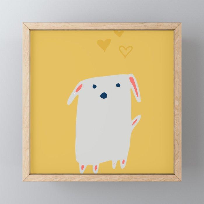 Cute sweet Dog Yellow Framed Mini Art Print