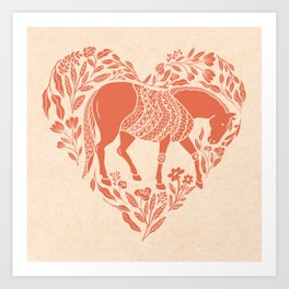 The Horse in My Heart; Hand-drawn Modern Folk Art Horse Encircled by Botanicals in Heart Art Print