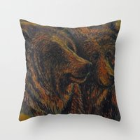 bears Throw Pillows featuring Bears by lyneth Morgan