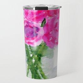 Peonies in a Vase Travel Mug