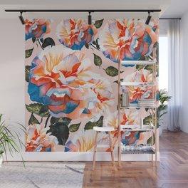 Big flowers blue & orange Wall Mural
