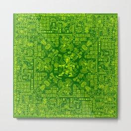 Mayan Spring GREEN / Ancient Mayan hieroglyphics mandala pattern Metal Print