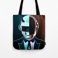 daft punk Tote Bags featuring DAFT PUNK by Alli Vanes