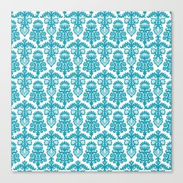 Floral Pattern Cerulean Blue Canvas Print