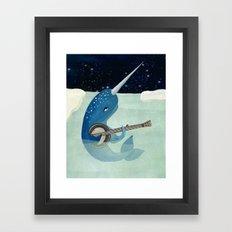 Narwhal's Aquarelle - Narwhal Plays Banjo Framed Art Print