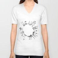 globe V-neck T-shirts featuring globe  by Naja