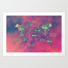 world map 116 #worldmap #map Art Print