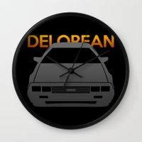 delorean Wall Clocks featuring DeLorean DMC–12 by Vehicle