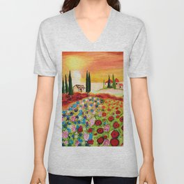 Tuscan Field of Poppies Unisex V-Neck