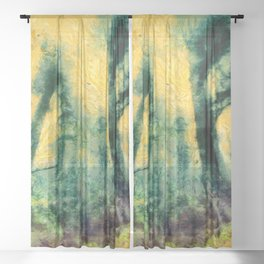 abstract misty forest painting hvhdtop Sheer Curtain