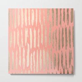 Vertical Dash Tahitian Gold on Coral Pink Stripes Metal Print