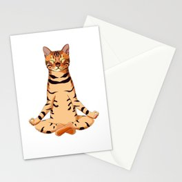 Yoga Bengal Cat  Stationery Cards