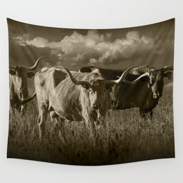 Sepia Tone of Texas Longhorn Steers under a Cloudy Sky Wall Tapestry
