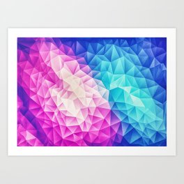 Pink - Ice Blue / Abstract Polygon Crystal Cubism Low Poly Triangle Design Art Print
