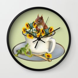 Coffee Cup with squirrel and frog and sunflowers Wall Clock