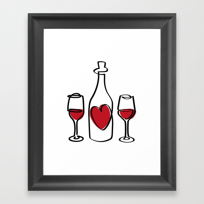 Red Wine and Love Framed Art Print