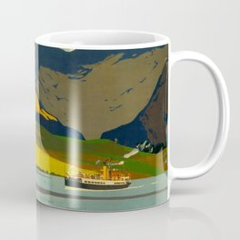 Loch Awe Vintage Mid Century Art Travel Poster British Railways Colorful Landscape Coffee Mug