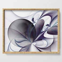 Easiness, Abstract Modern Fractal Art Serving Tray