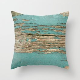 Rustic Wood Ages Gracefully - Beautiful Weathered Wooden Plank - knotty wood weathered turquoise pai Throw Pillow