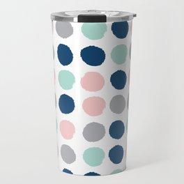 Zanthe - abstract trendy dots polka dots painted dot pattern blue pink pastel pantone color of the  Travel Mug