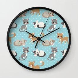 Cute Cat Pattern - Light Blue Polka Dots Wall Clock
